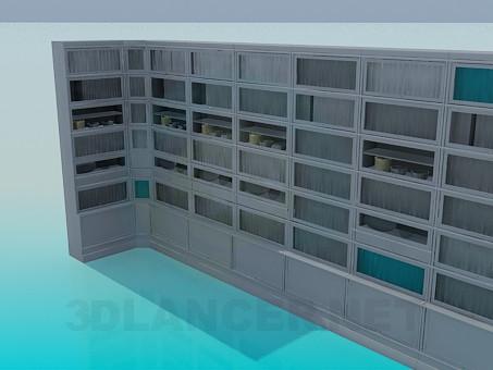 3d модель Сервант-стенка для книг в библиотеку – превью