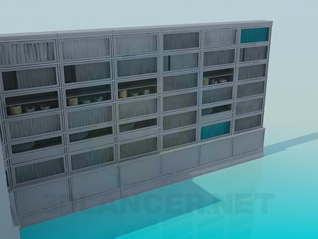 3d model Sideboard-wall for books in the library - preview