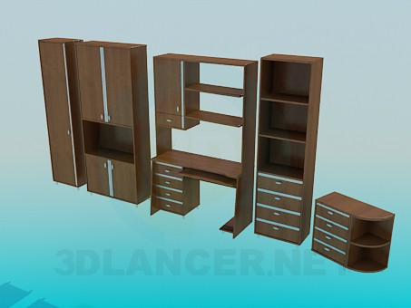 3d model Furniture set for a study - preview