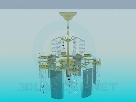 3d модель Люстра украшенная разрисованными стеклянными пластинами – превью