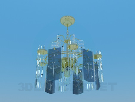 3d model Chandelier decorated with real Butterfly glass plates - preview