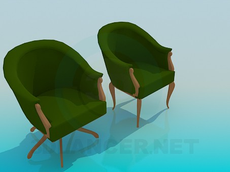 3d модель Кресло и стул в наборе – превью