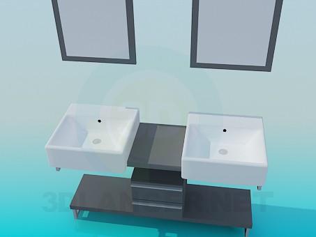 3d модель Подвійний умивальник на тумбі з дзеркалами – превью
