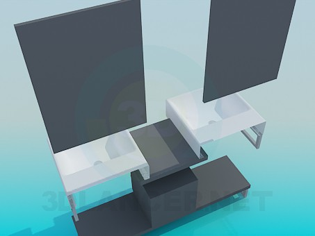 3d model Double wash basin on the bedside table with mirrors - preview