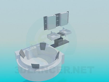 3d model Round Jacuzzi and double washbasin - preview