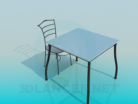 3d modeling Square table with stool model free download