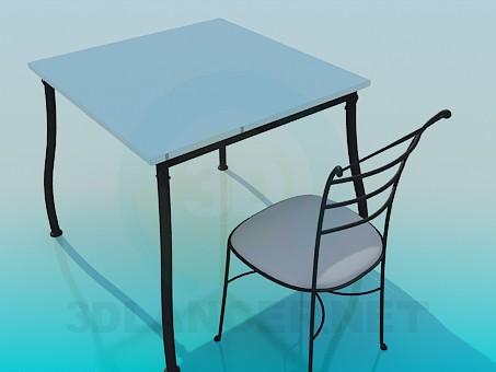 3d model Square table with stool - preview