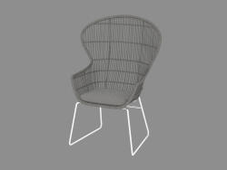 Armchair with oval backrest and metal legs