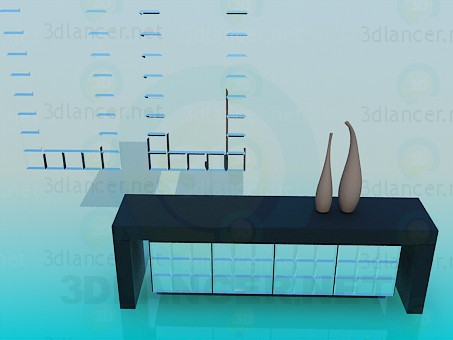 3d model Coffee table with vases - preview