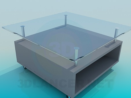3d model Glass table with stand under logs - preview