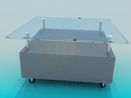 3d модель Стеклянный столик с подставкой под журналы – превью