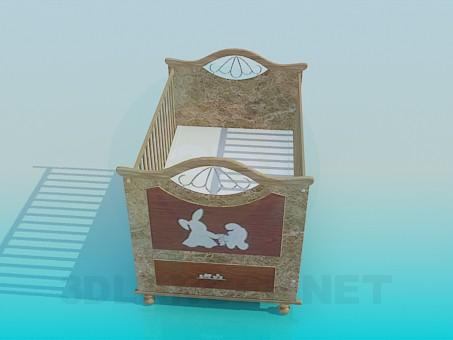 3d модель Кроватка младенца – превью