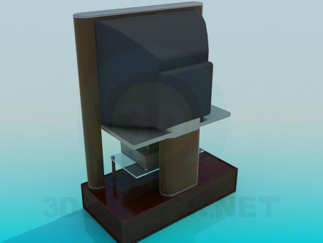 3d model TV and Receiver - preview