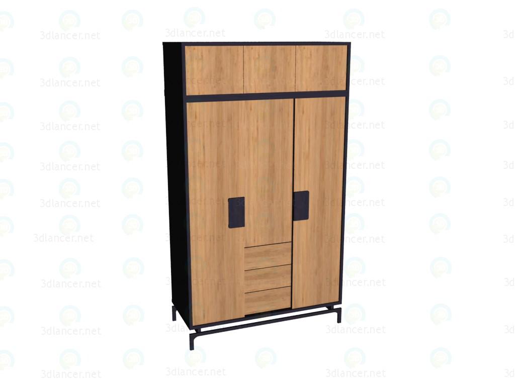 3d модель Шкаф 3-дверный с надставкой – превью