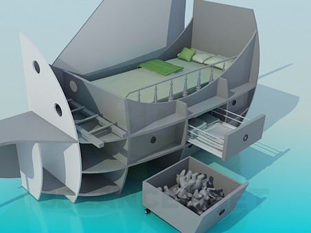 3d model Bed-ship to the nursery - preview
