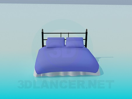 3d модель Кровать с подушками – превью
