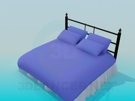 modelo 3D Cama con almohadas - escuchar
