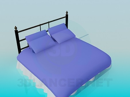 3d model Bed with pillows - preview