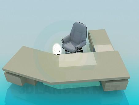 descarga gratuita de 3D modelado modelo Amplio escritorio de trabajo