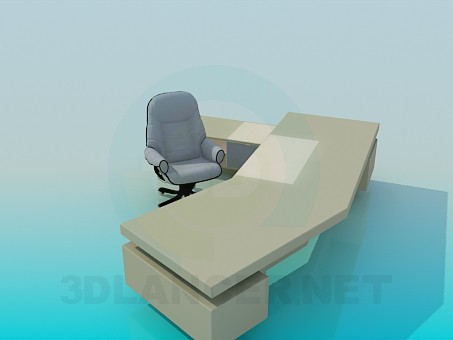 3d модель Большой письменный стол – превью