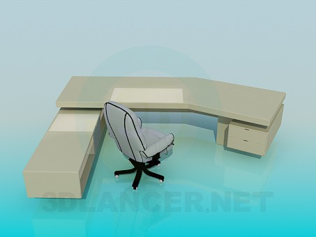 3d model Large desk - preview