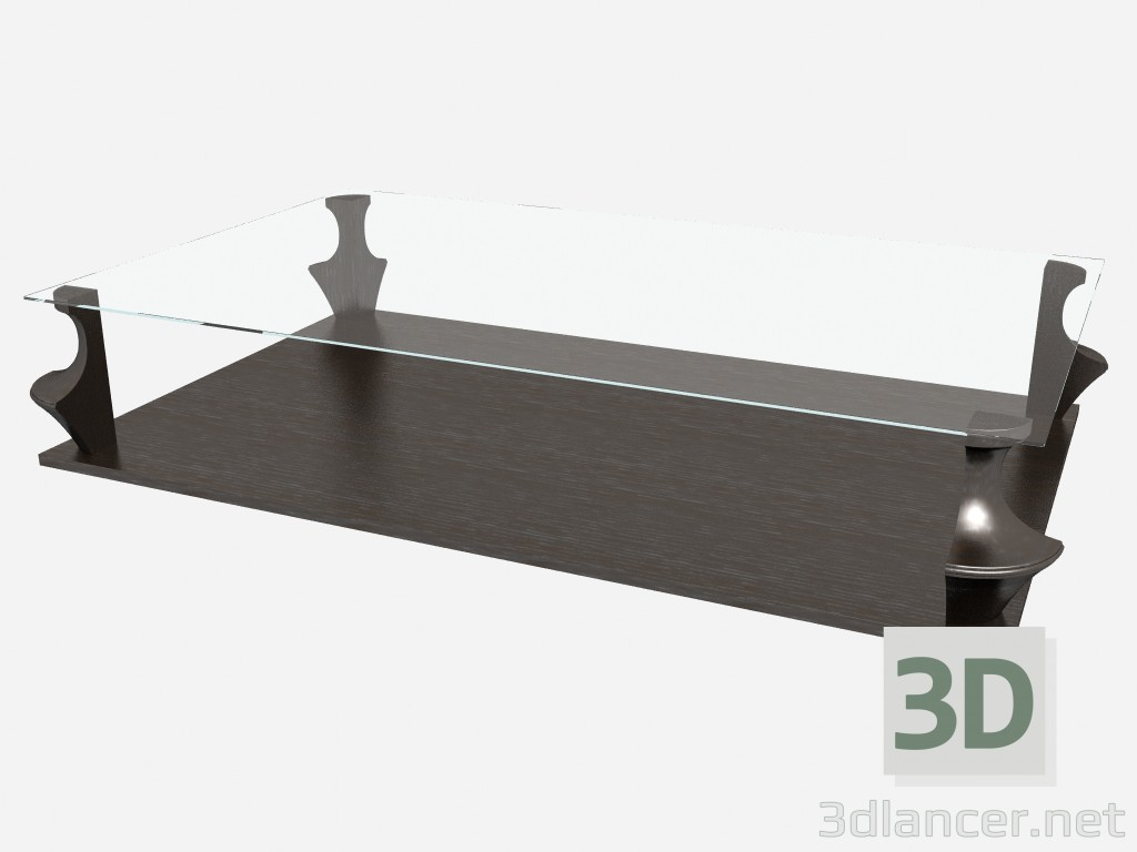 3d model Rectangular coffee table with glass top AIDA Z03 - preview