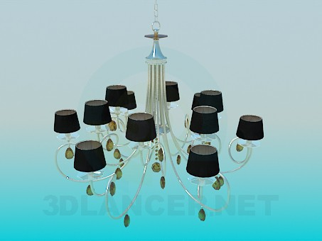 3d modeling Chandelier with glass petals and lampshades model free download