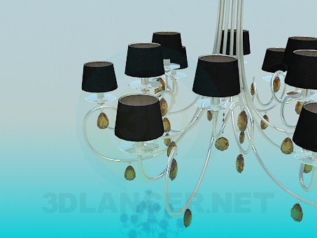 3d model Chandelier with glass petals and lampshades - preview