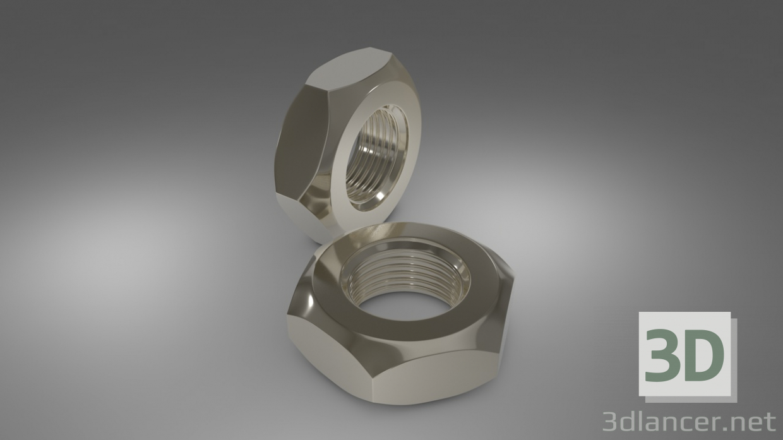 Nute hexagonal de acero 3D modelo Compro - render