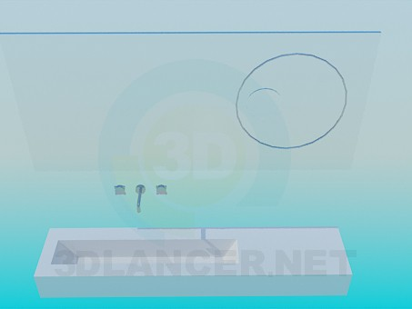 3d model Washbasin and mirror - preview