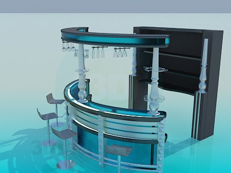 3d model The bar counter with stools - preview