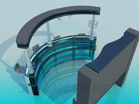 modelo 3D La barra de mostrador con taburetes - escuchar