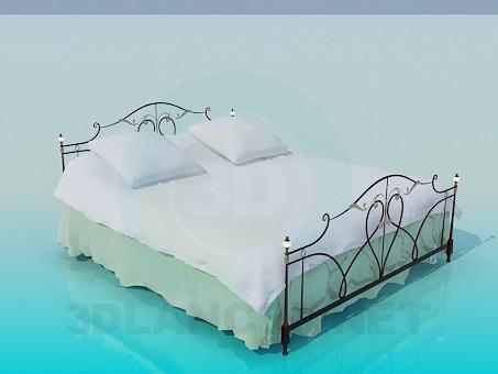3d модель Кровать с постелью – превью