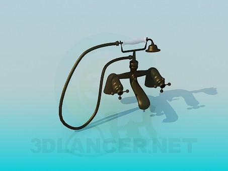 3d модель Змішувач двухвентильний для ванни в старому стилі – превью