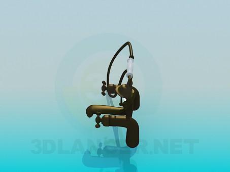 3d модель Смеситель двухвентильный для ванны в старом стиле – превью