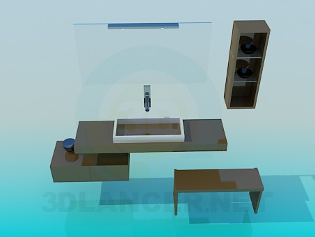 3d modeling A set of furniture to the sink model free download