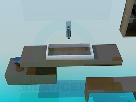 modelo 3D Un conjunto de muebles para el lavabo - escuchar