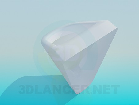 3d model Triangular urinal - preview