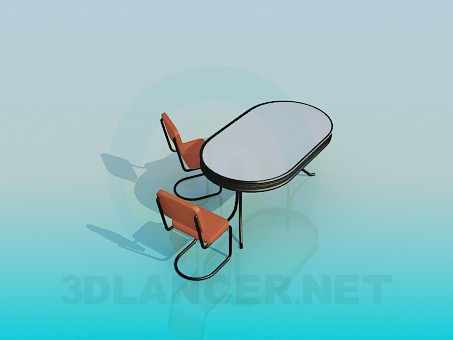 3d model Oval table with chairs - preview