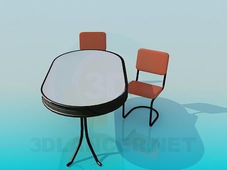 modelo 3D Mesa oval con sillas - escuchar
