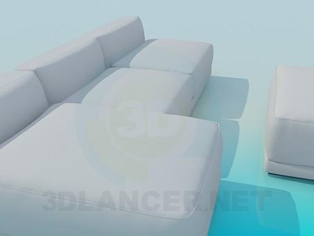 3d модель Диван и банкетка в комплекте – превью