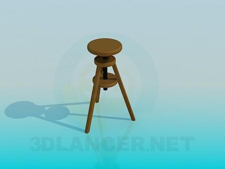 3d модель Високий дерев'яний табурет – превью