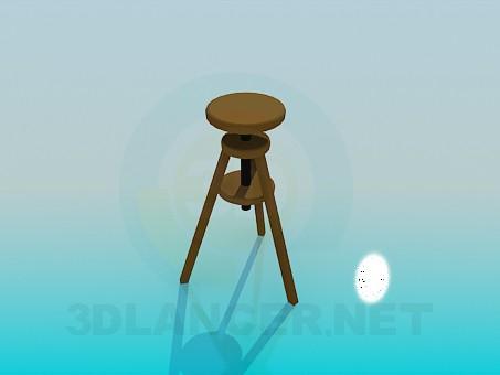 modelo 3D Taburete alto de madera - escuchar
