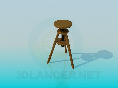 3d model Tall wooden stool - preview