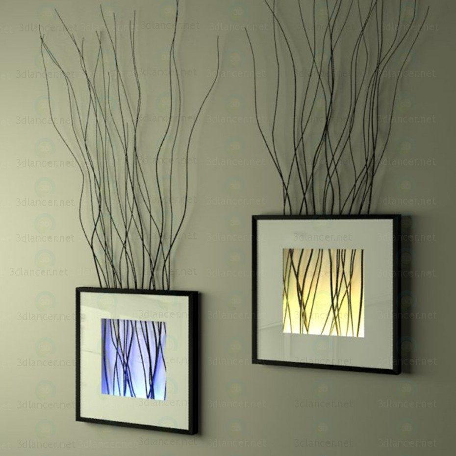 3d model The decor on the wall (frame with branches and backlight) - preview