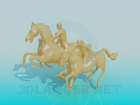 descarga gratuita de 3D modelado modelo Caballos del monumento tres