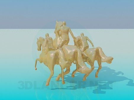 3d model Monument Three horses - preview