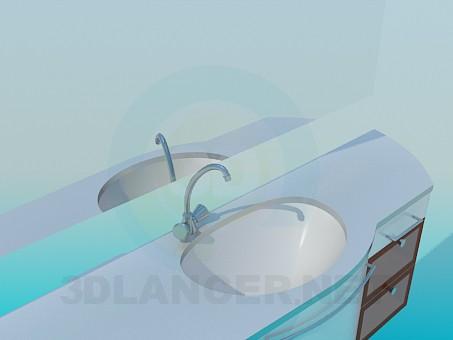 3d модель Тумба к умывальнику – превью