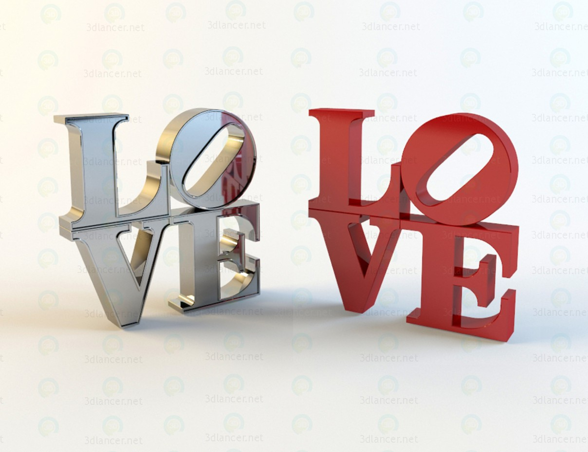 3d model Letters LOVE - preview