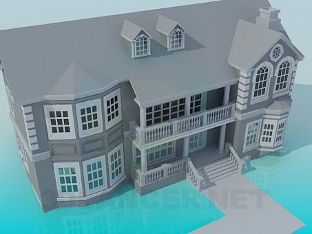 3d модель Дом 2-х этажный – превью